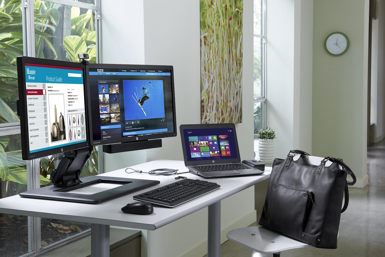 hp socle ajustable pour deux crans aw664aa open it informatique et haute technologie. Black Bedroom Furniture Sets. Home Design Ideas
