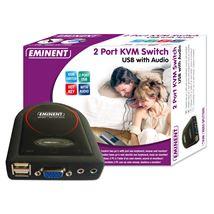 Image de Eminent 2 Port KVM Switch USB w/ Audio Noir commutateur écran, ... (EM1037)