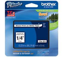 Image de Brother TZe211 ruban d'étiquette Noir sur blanc TZe (TZe-211)