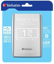 Image de Verbatim Disque dur portable USB Store 'n' Go 3.0, 1 To, Argent ... (53071)