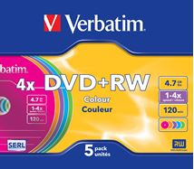Image de Verbatim DVD+RW Colours 4,7 Go 5 pièce(s) (43297)