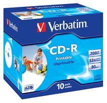 Image de Verbatim CD-R AZO Wide Inkjet Printable 700 Mo 10 pièce(s) (43325)