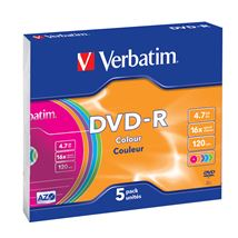 Image de Verbatim DVD-R Colour 4.7Go DVD-R 5pièce(s) (43557)