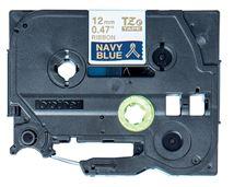 Image de Brother ruban d'étiquette Or sur fond bleu marine (TZE-RN34)