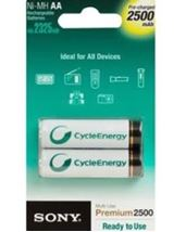 Image de Sony Ni-MH, AA, 2500 mAh Rechargeable battery Hybrides nick ... (NH-AAB2GN)
