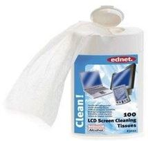 Image de Ednet LCD Screen Cleaner Tissues 100 Sheets Chiffons humides d ... (63022)
