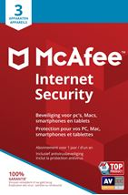 Image de McAfee Internet Security, 3 Devices (Dutch / French) L ... (MIS00MNR3RAAB)